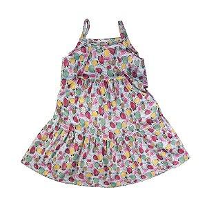 Vestido Ciganinha Flores Infantil Menina Menta