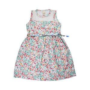 Vestido Florzinhas Infantil Menina Menta