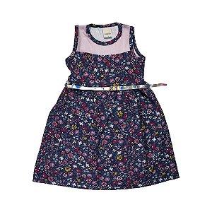 Vestido Florzinhas Infantil Menina Marinho