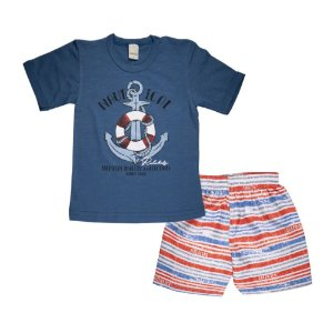 Conjunto Camiseta e Shorts Ancora Infantil Menino Azul