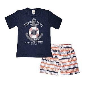 Conjunto Camiseta e Shorts Ancora Infantil Menino Marinho