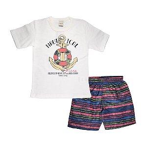 Conjunto Camiseta e Shorts Ancora Infantil Menino Off White