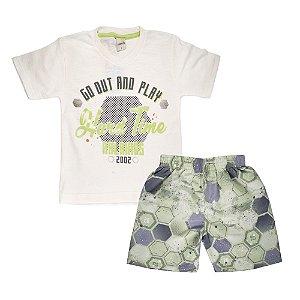 Conjunto Camiseta Futebol e Bermuda Infantil Menino Branco