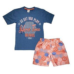 Conjunto Camiseta Futebol e Bermuda Infantil Menino Azul