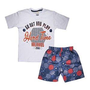 Conjunto Camiseta Futebol e Bermuda Infantil Menino Off White