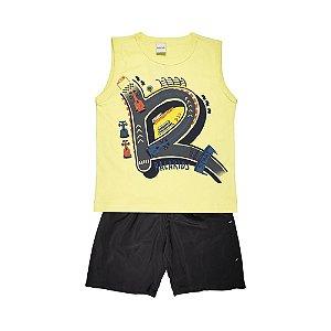 Conjunto Regata Car Race e Bermuda Tactel Infantil Menino Amarelo