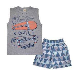 Conjunto Regata Skate e Bermuda Tactel Infantil Menino Mescla