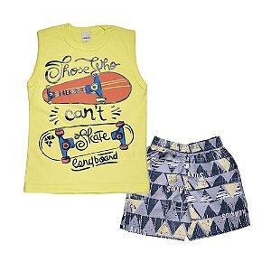 Conjunto Regata Skate e Bermuda Tactel Infantil Menino Amarelo