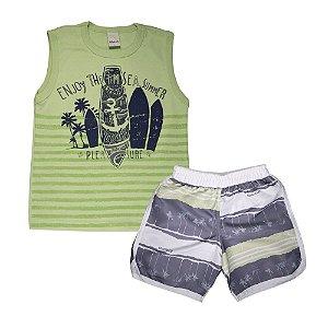 Conjunto Regata Pranchas e Bermuda Tactel Infantil Menino Verde