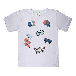Camiseta Energia Positiva Infantil Menino Branca