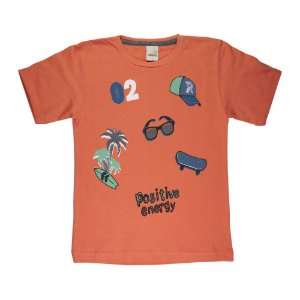 Camiseta Energia Positiva Infantil Menino Laranja