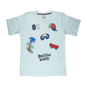 Camiseta Energia Positiva Infantil Menino  Menta