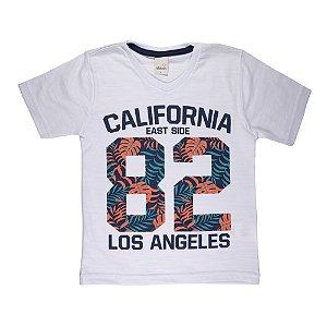 Camiseta Gola V California Infantil Menino Branco