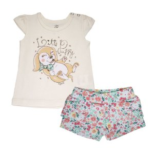 Conjunto Blusa e Shorts Cachorrinho Infantil Menina Off White