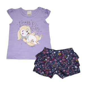 Conjunto Blusa e Shorts Cachorrinho Infantil Menina Confeti