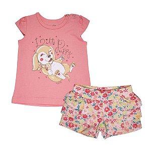 Conjunto Blusa e Shorts Cachorrinho Infantil Menina Rosa