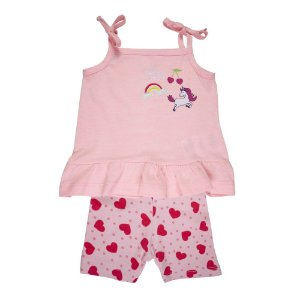 Conjunto Bata e Bermuda Unicórnio Infantil Menina Rosa Neon