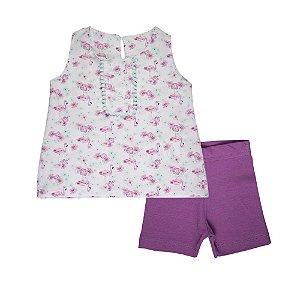 Conjunto Bata e Bermuda Flamingo Ciclista Infantil Menina Lilas