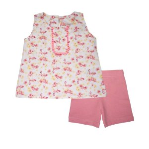Conjunto Bata e Bermuda Flamingo Ciclista Infantil Menina Pink