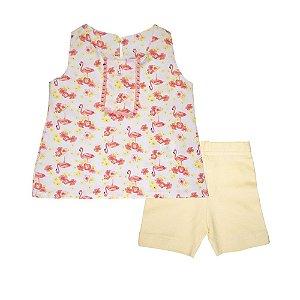 Conjunto Bata e Bermuda Flamingo Ciclista Infantil Menina Cereja