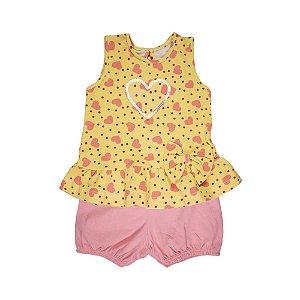 Conjunto Blusa e Shorts Corações Infantil Menina Amarelo