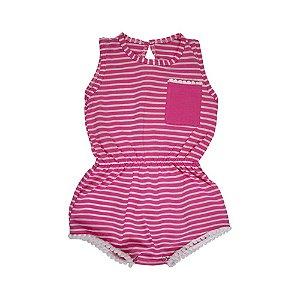 Macaquinho Infantil Listrado Menina Pink