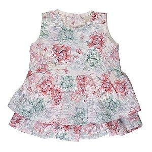 Vestido Rosas Infantil Menina Verde