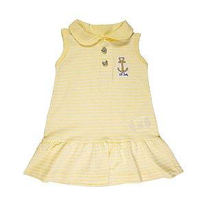 Vestido Listrado Infantil Feminino Amarelo
