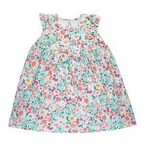 Vestido Floral Infantil Feminino Menta