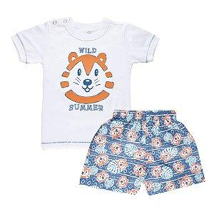 Conjunto Camiseta Tigre e Short Infantil Menino Branco