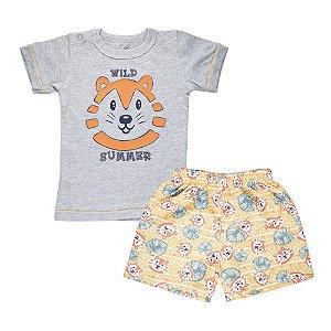 Conjunto Camiseta Tigre e Short Infantil Menino Mescla