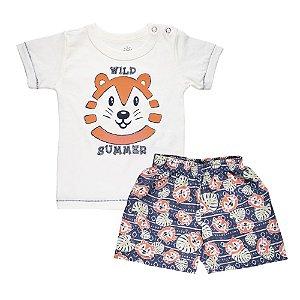 Conjunto Camiseta Tigre e Short Infantil Menino Off White