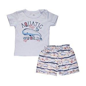 Conjunto Camiseta Baleia e Bermuda Infantil Menino Branco