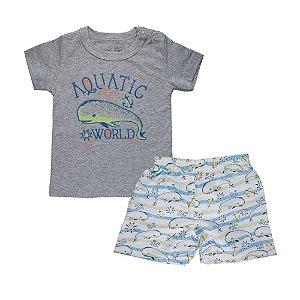 Conjunto Camiseta Baleia e Bermuda Infantil Menino Mescla