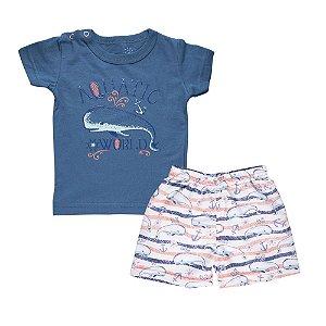 Conjunto Camiseta Baleia e Bermuda Infantil Menino Azul
