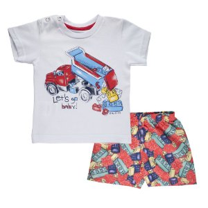 Conjunto Camiseta e Bermuda Blocos Infantil Menino Branco