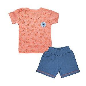 Conjunto Camiseta Gola V e Bermuda Infantil Menino Laranja
