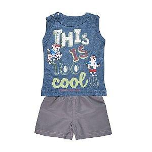 Conjunto Regata Cool e Bermuda Infantil Menino Azul