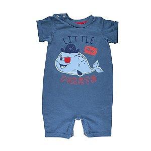 Macacão Baleia Pirata Infantil Menino Azul Marinho