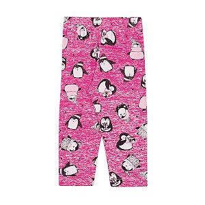 Calça Legging Infantil Penguins Menina Pink