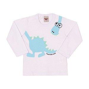 Camiseta Manga Longa Dinossauro Infantil Menino Branco