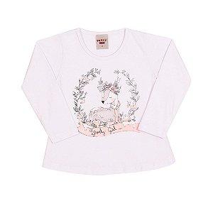 Blusa Infantil Cervo Menina Branco