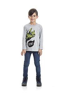 Camiseta Manga Longa Dinossauro Infantil Menino Cinza Claro