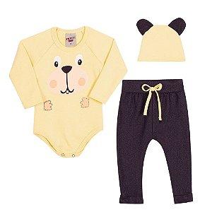 Conjunto Body Calça e Touca Infantil Menino Amarelo