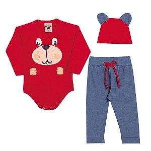 Conjunto Body Calça e Touca Infantil Menino Vermelho