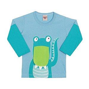 Camiseta Manga Longa Dinossauro Infantil Menino Azul Claro