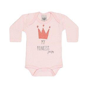 Body Longo Infantil Coroa Menina Rosa Claro