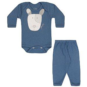 Conjunto Body e Calça Infantil Menino Azul Médio