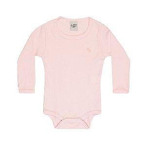 Body Longo Infantil Básico Menina Rosa Claro