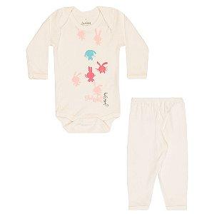 Conjunto Body e Calça Infantil Menina Branco